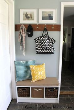 Mudroom Entryway - One Project at a Time- A bowl full of lemons Link party mud room/ entry way Entryway Decor, Entryway Ideas, Hallway Ideas, Entrance Ideas, Garage Entryway, Entryway Hooks, Wall Decor, First Home, Home Organization