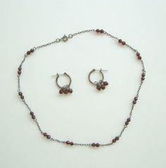 Garnet Necklace Earring Set Gunmetal Gray Metal Gemstone Jewelry