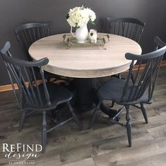 Natural White On Gray Dining Set