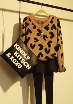 Heart-Printed Pullover