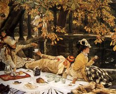 """Painting of the Day! James Jacques Joseph Tissot (1836-1902) - """"Holyday"""" - Oil on Canvas, c1876.  To see more works by this artist please visit: https://www.artrenewal.org/pages/artist.php?artistid=12  - Share your favorite old master works! http://www.pinterest.com/ArtRenewal/share-your-favorite-old-master-works/"""