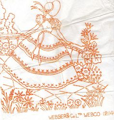 KEEP Click site to ENLARGE (her Webber Crinoline lady (pinky and boo) Tags: vintage embroidery transfer Embroidery Transfers, Hand Embroidery Patterns, Vintage Embroidery, Embroidery Applique, Cross Stitch Embroidery, Machine Embroidery, Learning To Embroider, Sewing Art, Silk Ribbon Embroidery