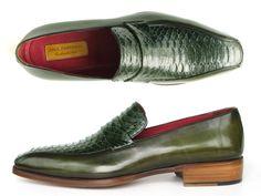 Paul Parkman Men's Loafer Green Genuine Python with Green Handpainted Calfskin (ID#23K38)