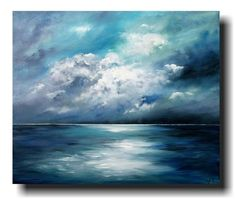 """""""Sea Night"""" acrylic on canvas by Antje Hettner - ideal for things - art . - """"Sea Night"""" acrylic on canvas by Antje Hettner – ideal for things – art - Seascape Paintings, Nature Paintings, Easy Paintings, Landscape Paintings, Beautiful Paintings, Nature Oil Painting, Simple Paintings On Canvas, Painting Clouds, Image Painting"""
