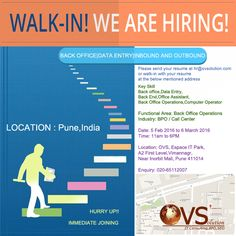 Walk-in freshere for Data ENTRY @ovsolution Pune! #hiring #jobsinpune #jobspune #bpo #careers #ovs