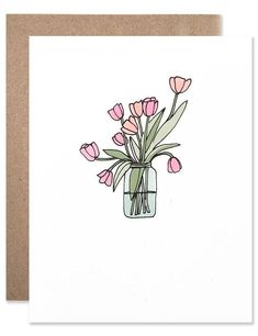 Pink and orange tulips in a blue mason jar hand illustrated by Hartland Brooklyn. Bullet Journal Ideas Pages, Bullet Journal Inspiration, Hand Illustration, Mothers Day Drawings, Card Drawing, Flower Doodles, Watercolor Cards, Watercolour, Homemade Cards
