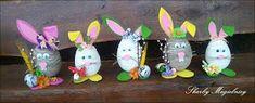 Skarby Magielnicy : Wielkanocne inspiracje - kolorowe zające Easter Bunny, Namaste, Decoupage, Diy Crafts, Christmas Ornaments, Holiday Decor, Handmade, Easter Ideas, Hand Made