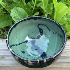 Wheel-thrown bowl with celadon green and by SpinningSongPottery