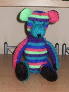 multi coloured hand knit teddy bear by BonnyBears on Etsy, £13.00