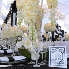 Kim Kardashian Black and White Wedding Decor. Like this for my wedding without the tall flower arrangements Trendy Wedding, Our Wedding, Dream Wedding, Wedding Bells, Wedding Stuff, Wedding Things, Wedding Black, Wedding Dreams, Party Wedding