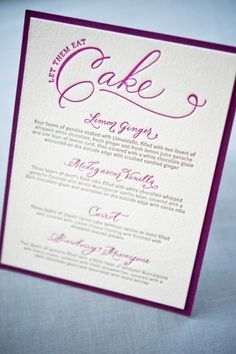 Letterpress Calligraphy Wedding Cake Menu 300x451 Whitney + A.K.s Colorful Letterpress Wedding Invitations