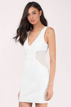 This flattering white mesh bodycon dress with plunging front neckline and  low back is what you 5e6f5a0d692d