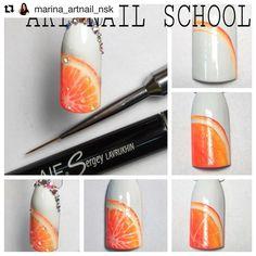 Fruit nails orange step by step Food Nail Art, Fruit Nail Art, Diy Ongles, Nail Techniques, Lavender Nails, School Nails, Nail Decorations, Creative Nails, Nail Tutorials