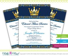 king prince royal baby shower gold crown royal baby shower printable diy party invitation for boy dark blue ao66bs