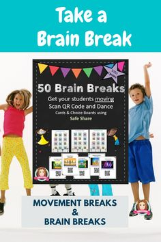 Gross Motor, Dance or Just for fun 50 Brain Breaks Song and Dance Cards with QR codes allow flexible use from individual to whole class. All In SafeShare, these link to the most popular Brain Break Dances/Songs enabling a range of uses in the classroom: Individual Brain Break on an ipod touch (Scan QR Code and Dance); Small Group Brain Break around an ipad (Scan and Dance); Whole Class Brain Break on ActivBoard ). #brain #break #brainbreaks #tpt #sarahanne #dance #movement #breaks #chicka…