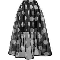 Choies Black Polka Dot Sheer Midi Skater Skirt With Lining ($17) ❤ liked on Polyvore featuring skirts, bottoms, gonne, multi, black midi skirt, flared skirt, circle skirt, skater skirt and black circle skirt