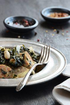 Sautéed Kale with Sausage & White Beans