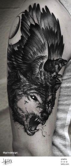 Robert Borbas Tattoo @ grindesign - Wolf and Ravens #neotraditional #woodcut #halfsleeve
