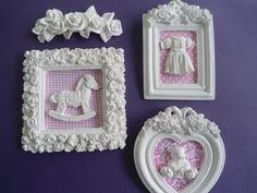 Arts And Crafts Projects, Diy And Crafts, Picture Frame Crafts, Baby Frame, Baby Sewing Projects, Do It Yourself Crafts, Felt Brooch, Miniature Crafts, Diy Dollhouse