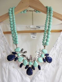Mint and Blue Crytsal and Beads 2 Layer Statement Necklace by AnneEmmaJewelry on Etsy https://www.etsy.com/listing/157977350/mint-and-blue-crytsal-and-beads-2-layer