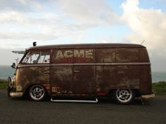 Old rusty bus is still cool. ACME logo is a nice touch