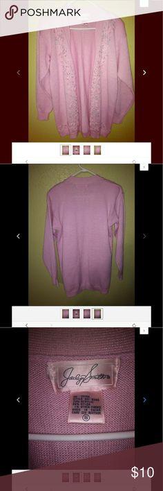 Jaclyn Smith Pink Beaded Sweater Size 8 Jaclyn Smith vintage 80s Pink beaded sweater with beaded decoration Size 8 Jaclyn Smith Sweaters Cardigans