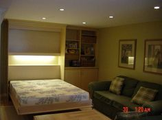 Open wall bed (open) Wall Beds, Open Wall, Custom Cabinetry, Murphy Bed, Two Bedroom, Storage Solutions, Shelving, Furniture, Home Decor