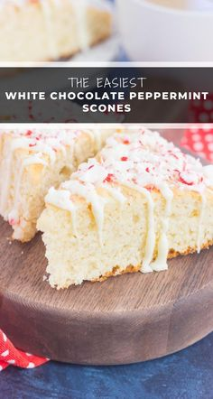 These White Chocolate Peppermint Scones are light, fluffy and bursting with flavor. Filled with hints of peppermint and topped with a white chocolate and peppermint glaze, these soft scones make the best holiday breakfast or dessert! New Year's Desserts, Christmas Desserts Easy, Cute Desserts, Delicious Desserts, Christmas Recipes, Vegan Candies, Dessert For Dinner, White Chocolate, Peppermint Chocolate