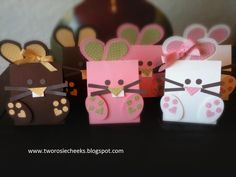 Measurement:  3 1/2 x 10 1/2 inch card stock  Turn paper to 10 1/2 inch side and score the paper 2 inches, 6 inches, and 7 1/2 inches  Fill the bag with any treats and used a strong adhesive to attach the front of the box.  Embellish with feet. earsandanythingyou like.  Enjoy!    Supplies List:  Card stocks: Whisper white,prettyin pink, early espresso, basic gray, and subtle collection pattern  Stamp: None!  Ink: None!