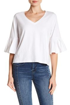 Ruffle Sleeve V-Neck Tee by Abound on @nordstrom_rack