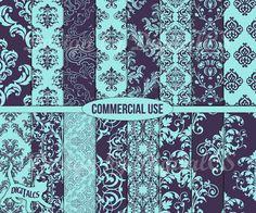 Damask digital paper pack Turquoise blue digital by DigitalCS