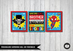 SUPERHERO Wall Decor. Personalized Kids Printable Wall Art. Superhero Brothers. Boys Room Decor. Superhero Nursery. Superhero Birthday…