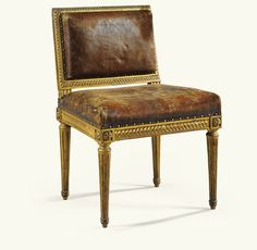 A CARVED OIL-GILT MUSICIAN CHAIR STAMPED L. DELANOIS, LOUIS XVI  Height 32 2/3 in; width 21 2/3 in