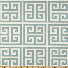 Greek Key Fabric Premier Prints towers blue natural village Home Decor by the Yard  - 1 yard or more - SHIPS FAST