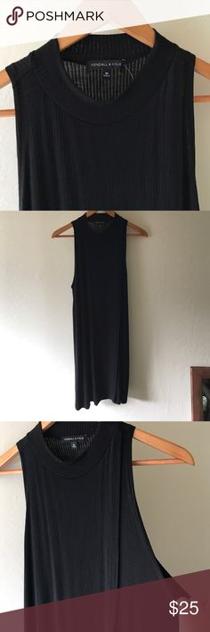 Kendall & Kylie Black Mock Neck Ribbed Dress Brand new with tags! Kendall & Kylie black ribbed dress. Mock Neck, Sleeveless, and Knee Length make this perfect to go from winter to spring. Made up of 95% Rayon and 5% Spandex! Kendall & Kylie Dresses