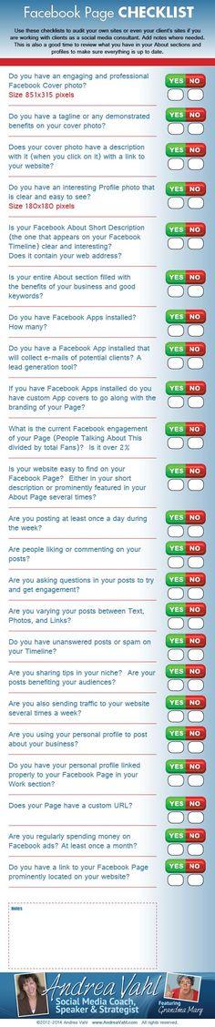 Checklist per avere una Fan Page #Facebook efficace, #infografica