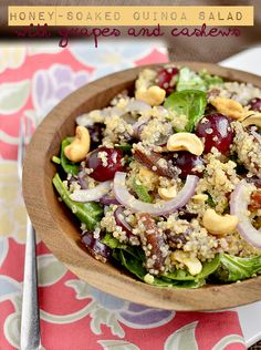 For a filling salad, we suggest this Honey-Soaked Quinoa Salad. Find out how to make it on Delish Dish: http://www.bhg.com/blogs/delish-dish/2013/02/27/in-season-eats-honey-soaked-quinoa-salad-with-grapes-cashews/?socsrc=bhgpin022713quinoasalad