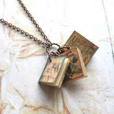 Swallows and Amazons - Handmade Copper Chain Unisex Necklace With Miniature Old Children's Books with Printed Pages