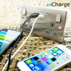 A revolutionary solution for USB charging, the stylish enCharge UK Power Socket with USB Charging Wall Plate in brushed steel with grey inserts allows you to charge your mobile devices while keeping your precious plug sockets free for other devices.