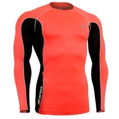 dd6e9bfe0701 Elastic Men s Compression T-shirt Jerseys Breathable Male Long Sleeves  Workout Fitness Quick Dry Base Layer Tops Red