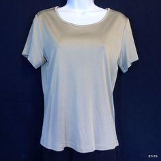 Valerie Stevens Silk-blend Beige Short Sleeve Top Womens Sz M www.bevsthisnthatshop.com