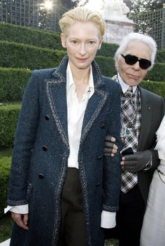 The magnificent Tilda with Karl Lagerfeld at Versailles.