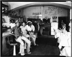 Interior of cafe.  Photographer: Luther M. Hamilton, Sr.  MDAH  1942  Crystal Springs, Mississippi  Copiah County