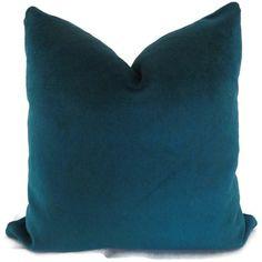 Velvet Peacock Blue Decorative Lumbar Pillow Cover by PopOColor, $45.00