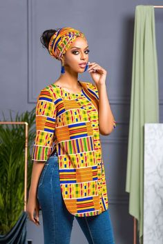 African Print Shalla Top