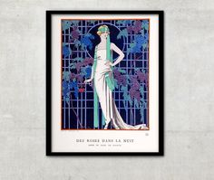 George Barbier was one of the great French illustrators of the early 20th century.  This is illustration of George Barbier Des Roses Dans La Nuit (Roses In The Night) from La Gazette Du Bon Ton, Issue #7, year 1921.  For more of beautiful Art Deco posters and illustrations in our shop, please follow this link - http://etsy.me/2gY9zQw  ◆ Fine Art Print - PAPER - Watercolor Paper, thick heavyweight paper with a coated matte surface 190g; - INK - Ultrachrome ink (Archival inks, t...