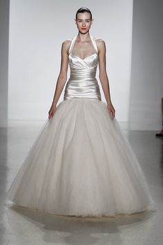 Silk halter fit and flare wedding dress by Kenneth Pool