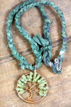 Tree of Life Pendant - Copper and Peridot Wire Wrapped Tree on Recycled Sari Silk Necklace Boho Bohemian Style Boho Necklace, Turquoise Necklace, Stylish Plus, Tree Of Life Pendant, Sari Silk, Peridot, Bohemian Style, Wire Wrapping, Jewelry Design