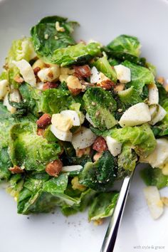 Egg and Brussels Sprout Salad  Sautéed Brussels sprouts in garlic and oil combined with freshly made hardboiled eggs makes this recipe superb as a side dish or even a meal. Top them off with some almonds and sea salt and you will be fighting off everyone who wants in on this delicious dish.