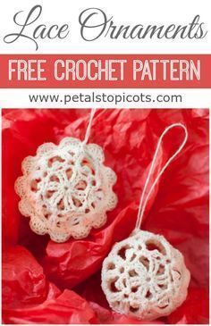 Crochet a set of these lovely lace ornaments ... great for gifting! Lace Crochet Christmas Ornaments - Free Crochet Pattern #petalstopicots